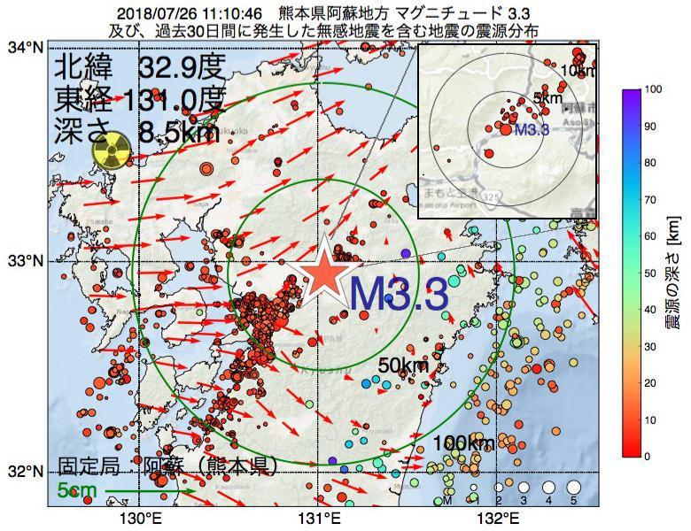 地震震源マップ:2018年07月26日 11時10分 熊本県阿蘇地方でM3.3の地震