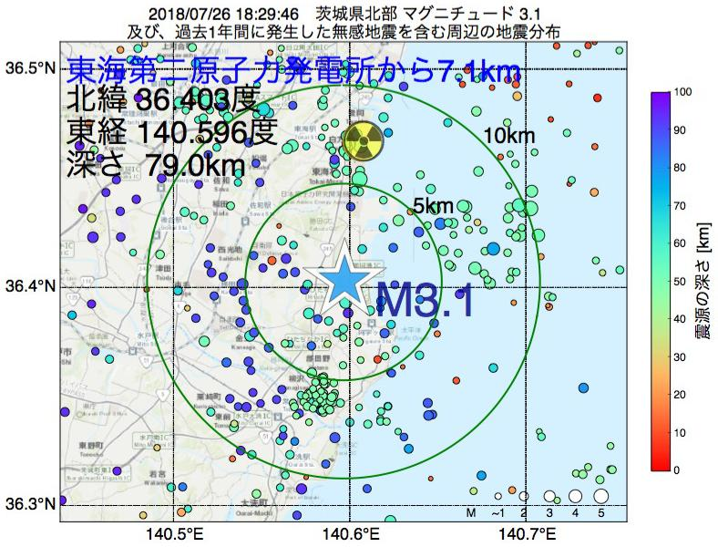 地震震源マップ:東海第二原子力発電所から7.1km地点でM3.1の地震が発生しました