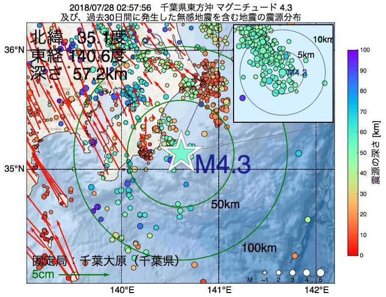 地震震源マップ:2018年07月28日 02時57分 千葉県東方沖でM4.3の地震