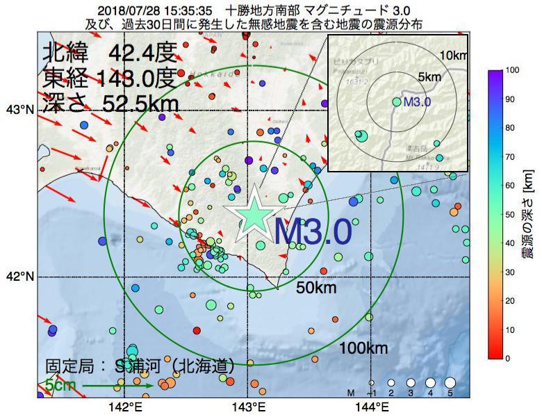 地震震源マップ:2018年07月28日 15時35分 十勝地方南部でM3.0の地震