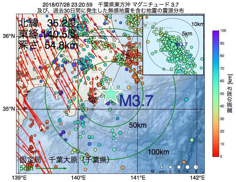 地震震源マップ:2018年07月28日 23時20分 千葉県東方沖でM3.7の地震