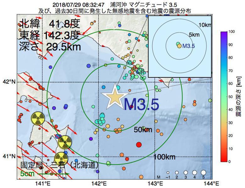 地震震源マップ:2018年07月29日 08時32分 浦河沖でM3.5の地震