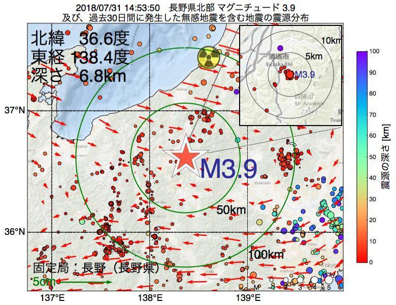 地震震源マップ:2018年07月31日 14時53分 長野県北部でM3.9の地震