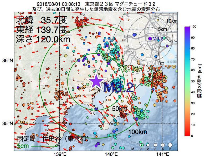 地震震源マップ:2018年08月01日 00時08分 東京都23区でM3.2の地震