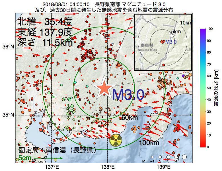 地震震源マップ:2018年08月01日 04時00分 長野県南部でM3.0の地震