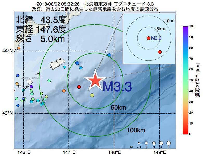 地震震源マップ:2018年08月02日 05時32分 北海道東方沖でM3.3の地震