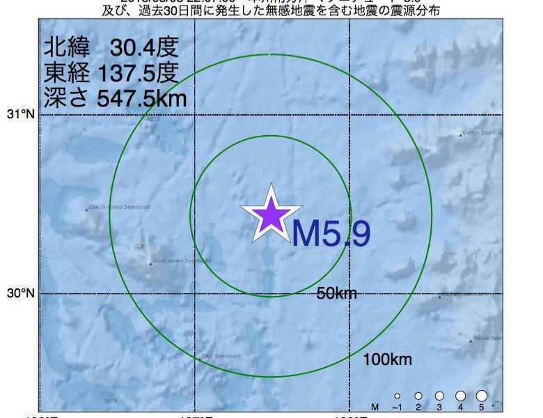 地震震源マップ:2018年08月03日 22時07分 本州南方沖でM5.9の地震