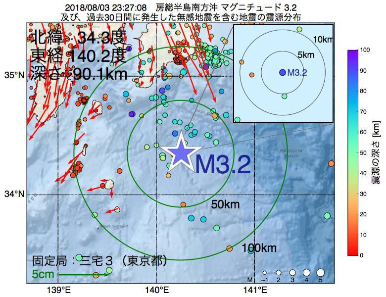 地震震源マップ:2018年08月03日 23時27分 房総半島南方沖でM3.2の地震