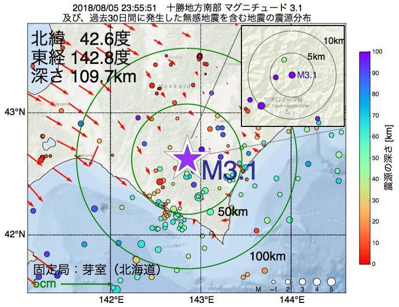 地震震源マップ:2018年08月05日 23時55分 十勝地方南部でM3.1の地震