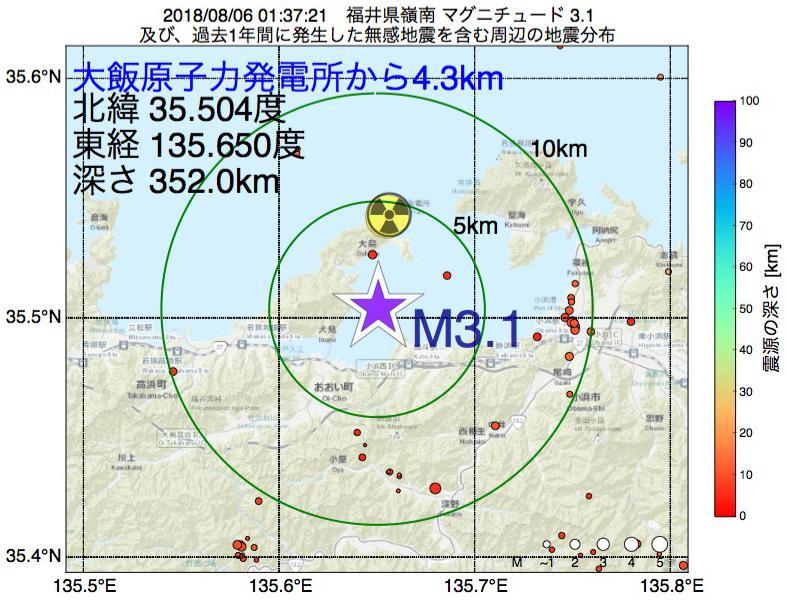 地震震源マップ:大飯原子力発電所から4.3km地点でM3.1の地震が発生しました