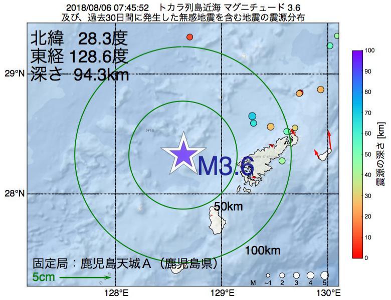 地震震源マップ:2018年08月06日 07時45分 トカラ列島近海でM3.6の地震