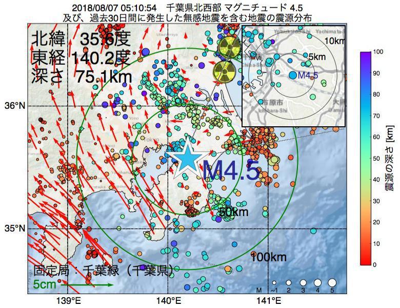 地震震源マップ:2018年08月07日 05時10分 千葉県北西部でM4.5の地震