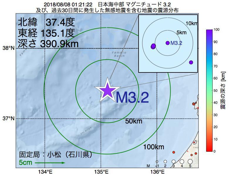 地震震源マップ:2018年08月08日 01時21分 日本海中部でM3.2の地震