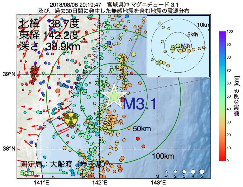 地震震源マップ:2018年08月08日 20時19分 宮城県沖でM3.1の地震