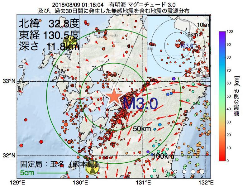 地震震源マップ:2018年08月09日 01時18分 有明海でM3.0の地震