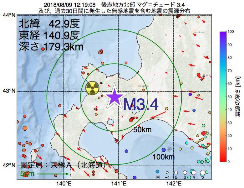 地震震源マップ:2018年08月09日 12時19分 後志地方北部でM3.4の地震