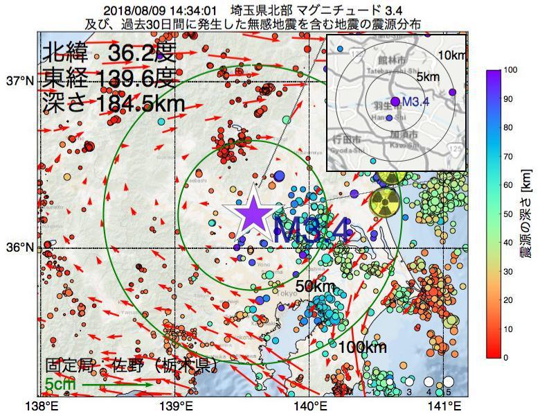 地震震源マップ:2018年08月09日 14時34分 埼玉県北部でM3.4の地震