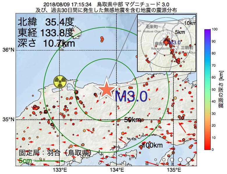 地震震源マップ:2018年08月09日 17時15分 鳥取県中部でM3.0の地震