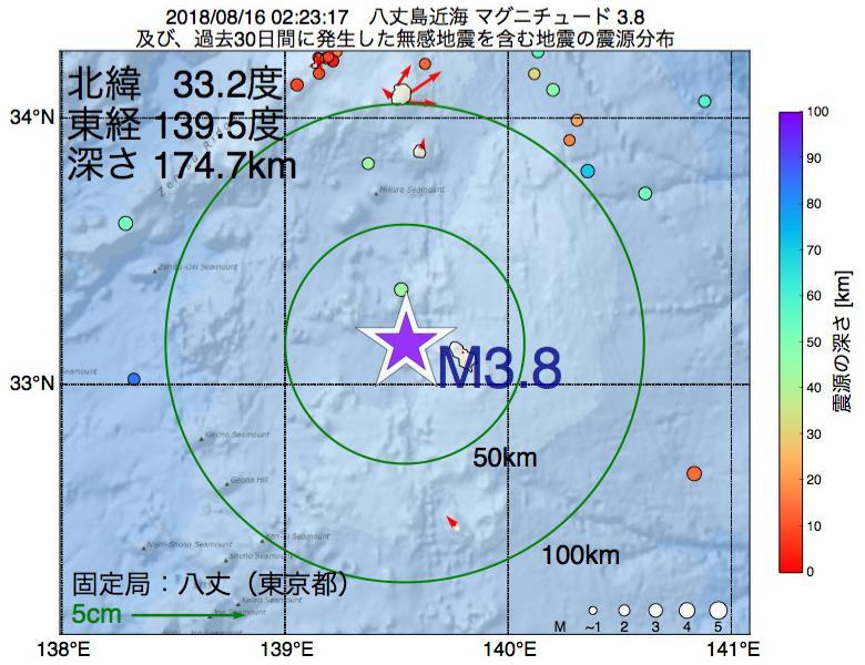 地震震源マップ:2018年08月16日 02時23分 八丈島近海でM3.8の地震