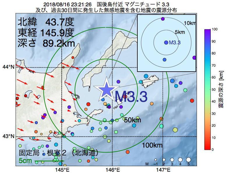 地震震源マップ:2018年08月16日 23時21分 国後島付近でM3.3の地震