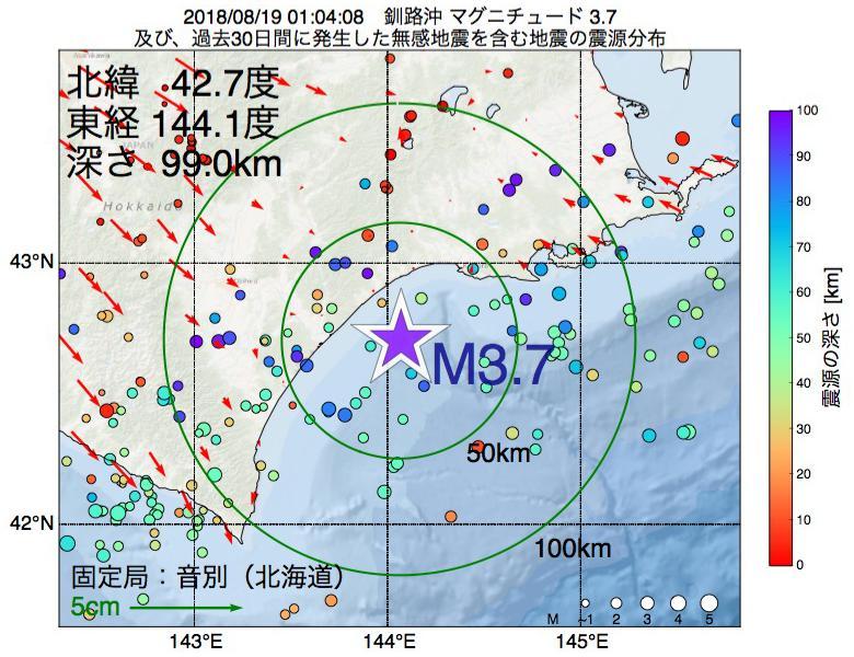 地震震源マップ:2018年08月19日 01時04分 釧路沖でM3.7の地震