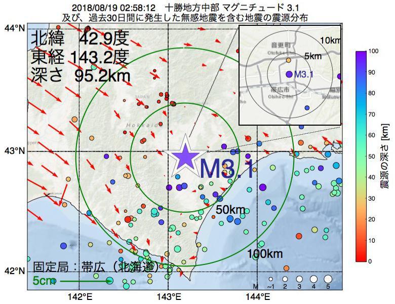 地震震源マップ:2018年08月19日 02時58分 十勝地方中部でM3.1の地震