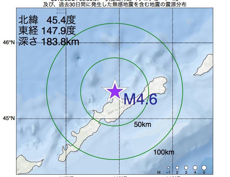 地震震源マップ:2018年08月24日 06時56分 択捉島付近でM4.6の地震