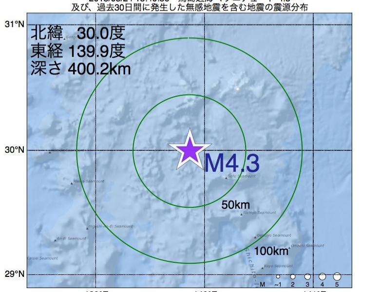 地震震源マップ:2018年08月24日 15時40分 鳥島近海でM4.3の地震