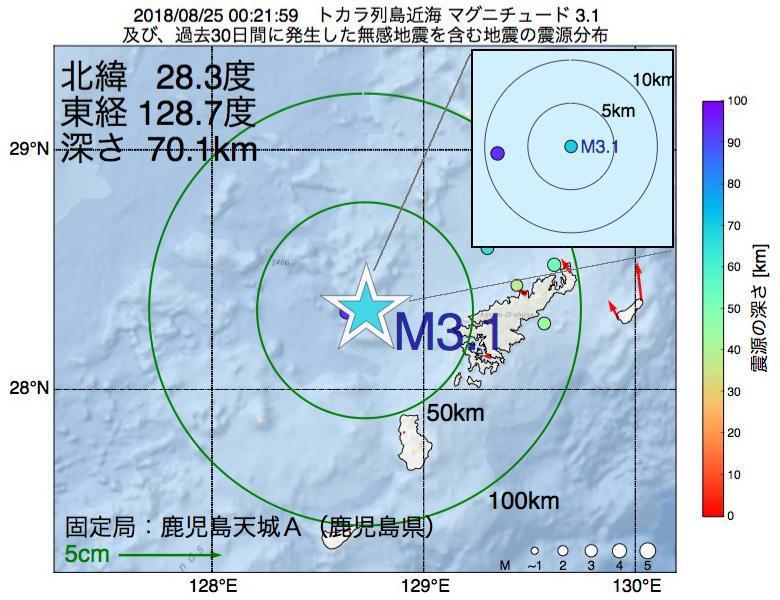 地震震源マップ:2018年08月25日 00時21分 トカラ列島近海でM3.1の地震