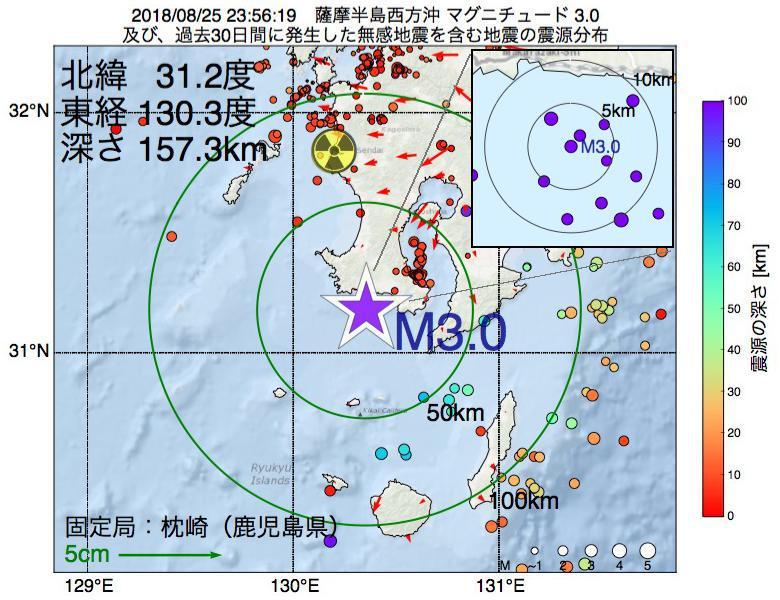 地震震源マップ:2018年08月25日 23時56分 薩摩半島西方沖でM3.0の地震