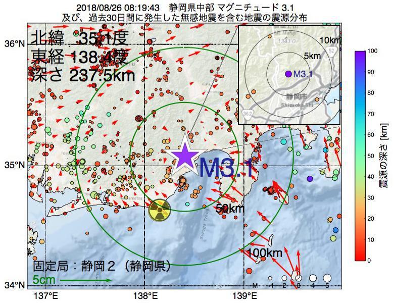 地震震源マップ:2018年08月26日 08時19分 静岡県中部でM3.1の地震