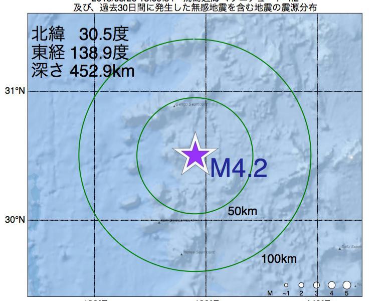 地震震源マップ:2018年08月26日 13時09分 鳥島近海でM4.2の地震