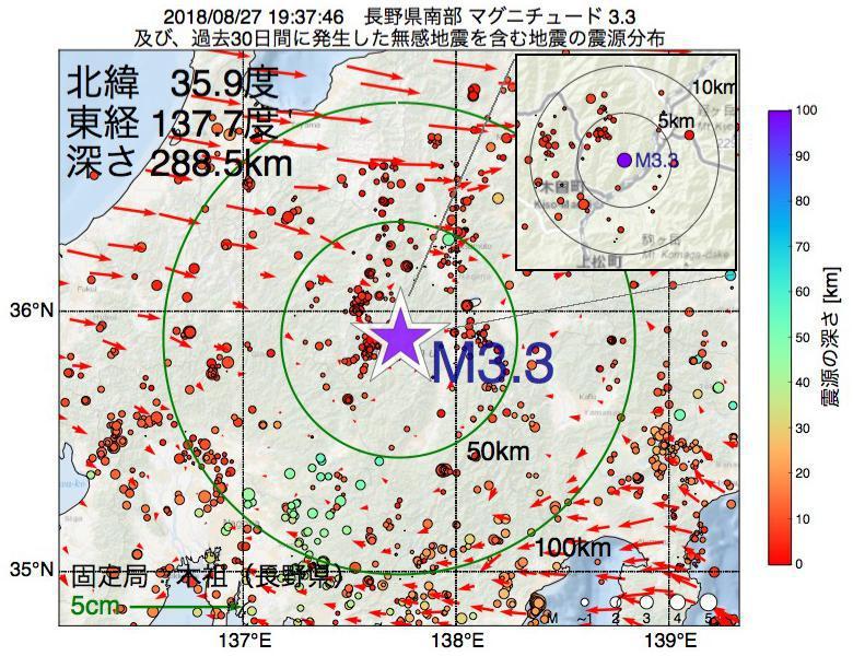 地震震源マップ:2018年08月27日 19時37分 長野県南部でM3.3の地震