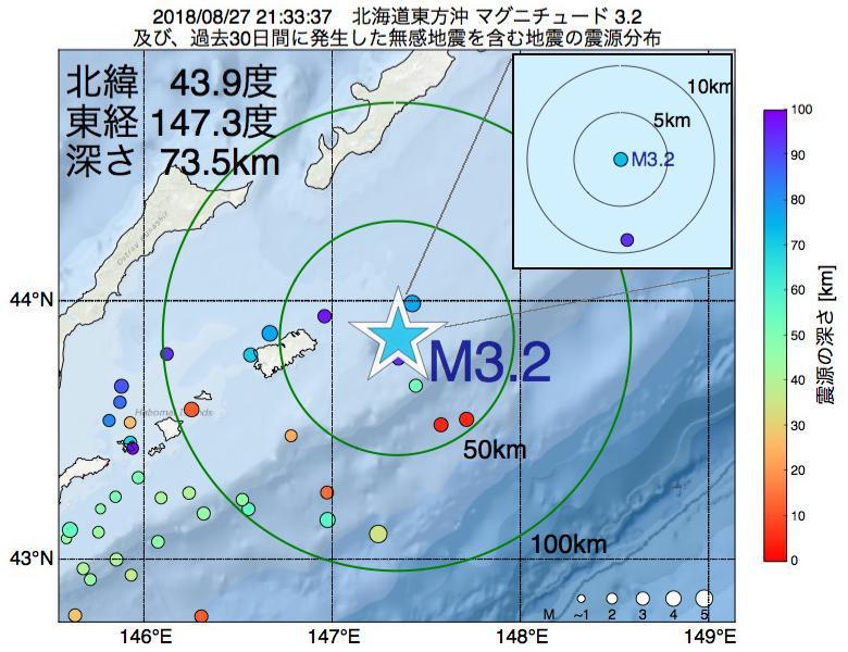 地震震源マップ:2018年08月27日 21時33分 北海道東方沖でM3.2の地震