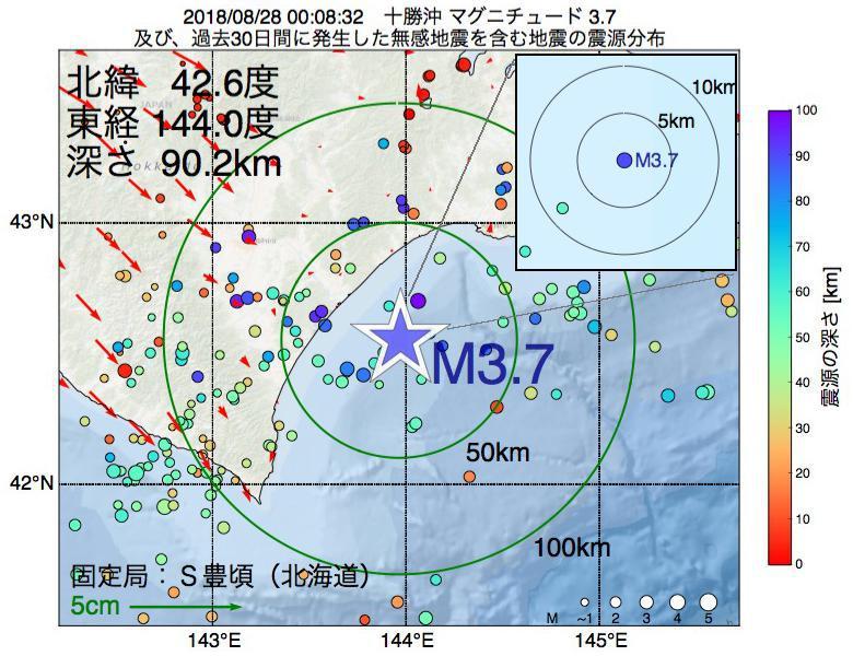 地震震源マップ:2018年08月28日 00時08分 十勝沖でM3.7の地震