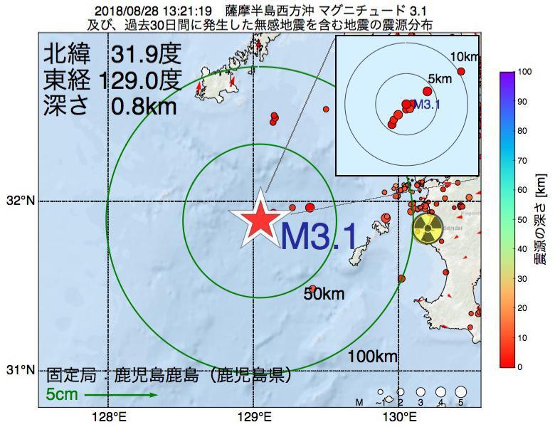 地震震源マップ:2018年08月28日 13時21分 薩摩半島西方沖でM3.1の地震