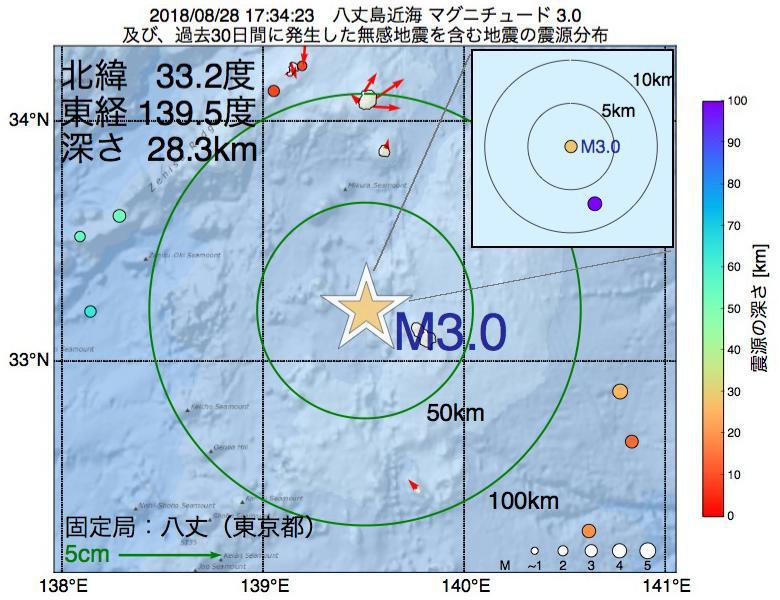 地震震源マップ:2018年08月28日 17時34分 八丈島近海でM3.0の地震