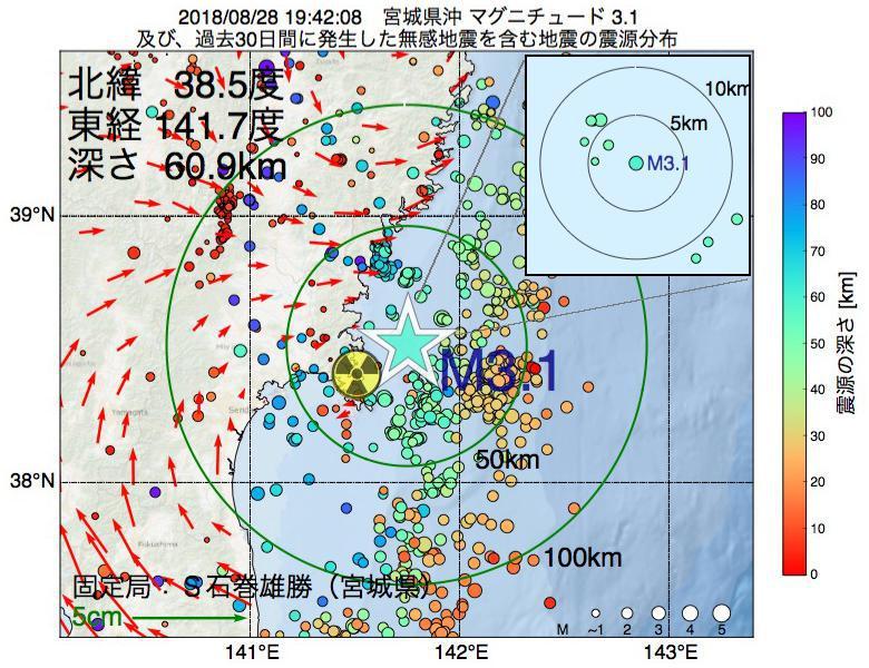 地震震源マップ:2018年08月28日 19時42分 宮城県沖でM3.1の地震