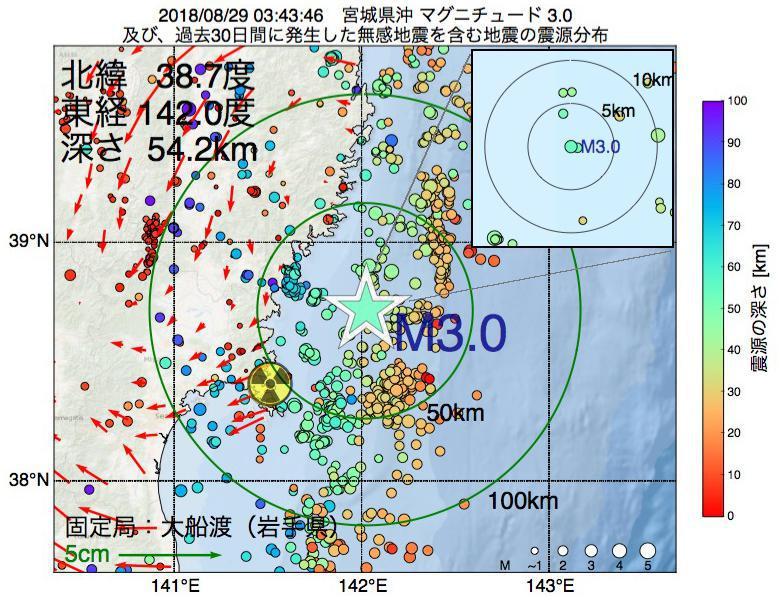 地震震源マップ:2018年08月29日 03時43分 宮城県沖でM3.0の地震