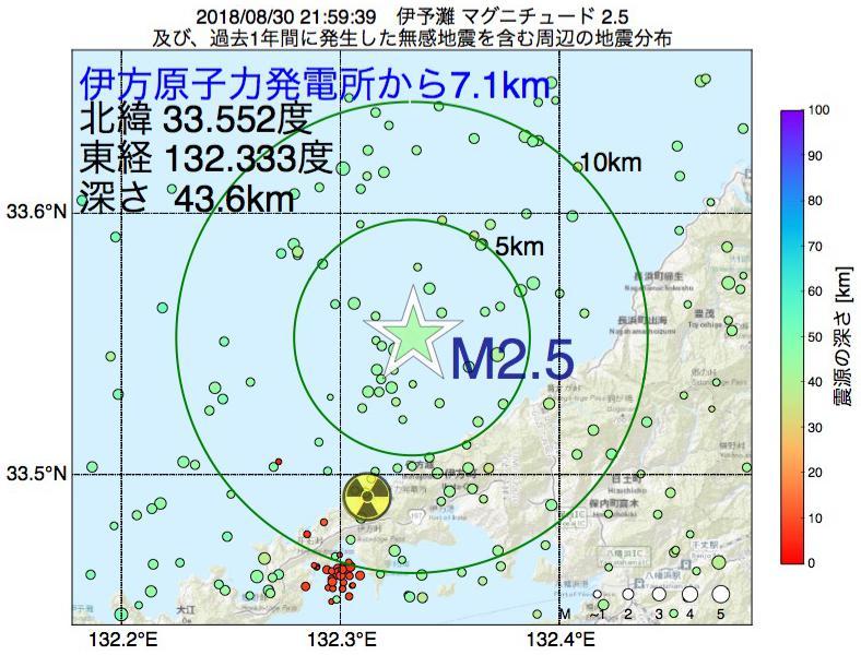地震震源マップ:伊方原子力発電所から7.1km地点でM2.5の地震が発生しました
