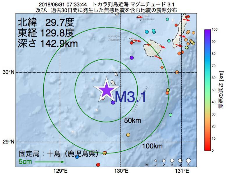 地震震源マップ:2018年08月31日 07時33分 トカラ列島近海でM3.1の地震