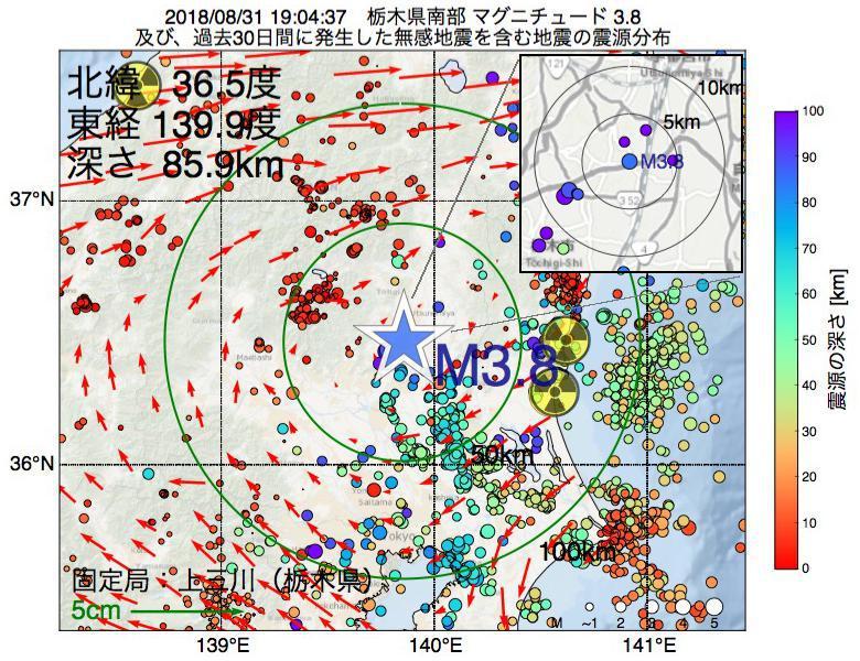 地震震源マップ:2018年08月31日 19時04分 栃木県南部でM3.8の地震