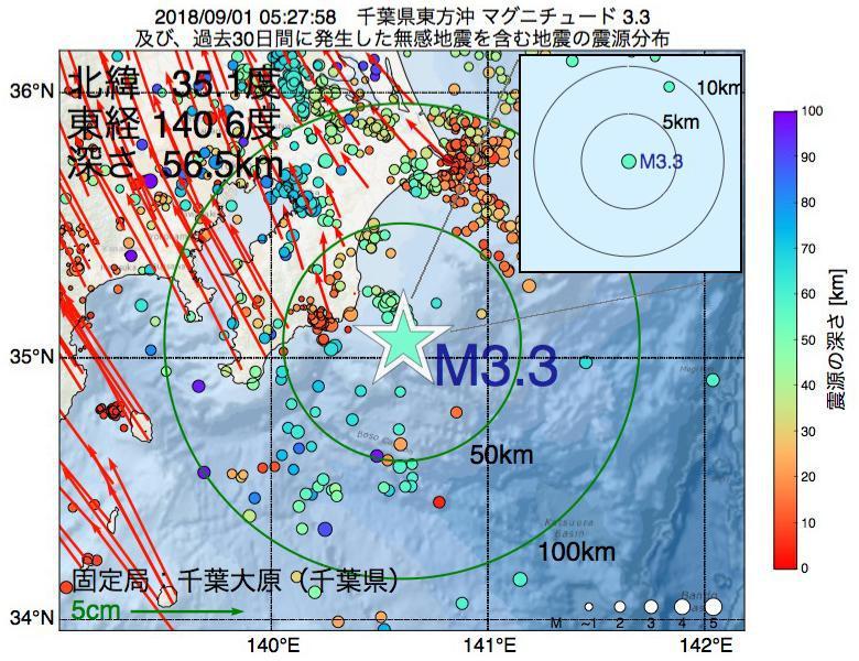 地震震源マップ:2018年09月01日 05時27分 千葉県東方沖でM3.3の地震
