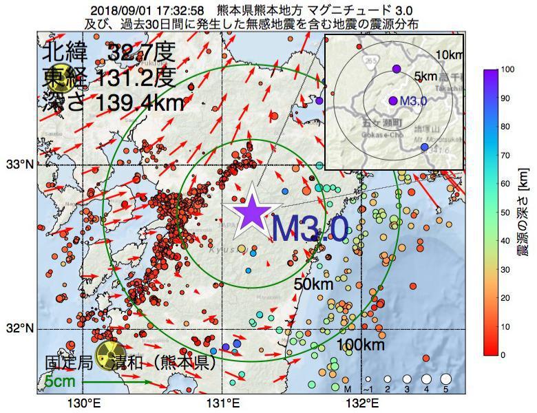 地震震源マップ:2018年09月01日 17時32分 熊本県熊本地方でM3.0の地震