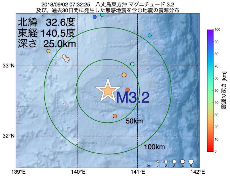 地震震源マップ:2018年09月02日 07時32分 八丈島東方沖でM3.2の地震