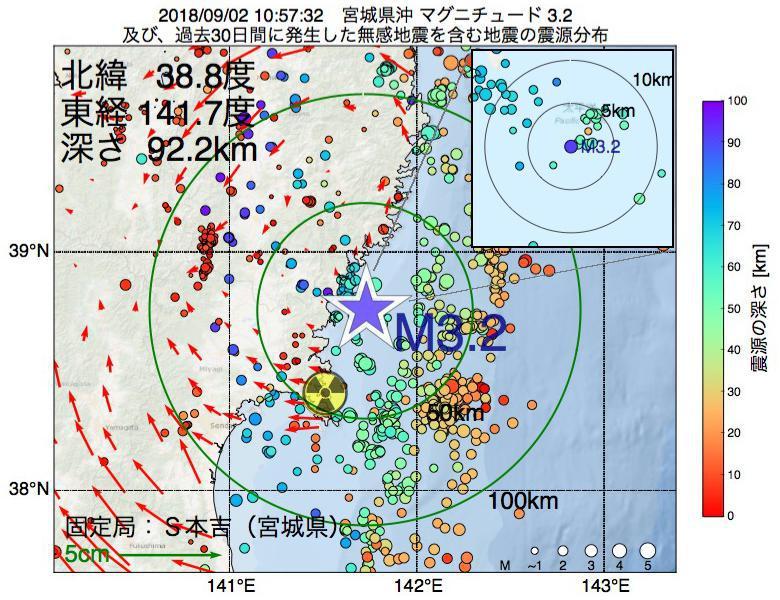 地震震源マップ:2018年09月02日 10時57分 宮城県沖でM3.2の地震