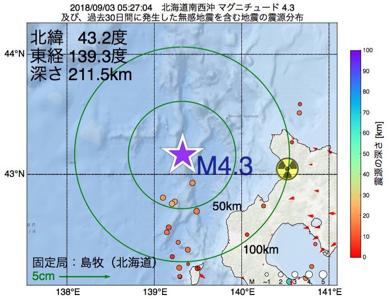 地震震源マップ:2018年09月03日 05時27分 北海道南西沖でM4.3の地震