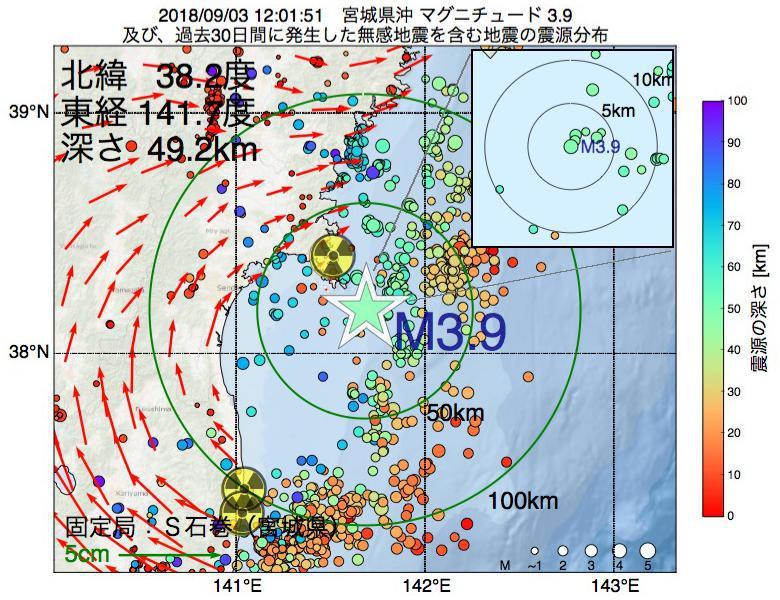 地震震源マップ:2018年09月03日 12時01分 宮城県沖でM3.9の地震