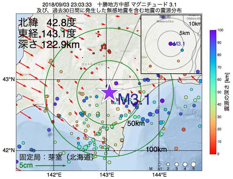 地震震源マップ:2018年09月03日 23時03分 十勝地方中部でM3.1の地震