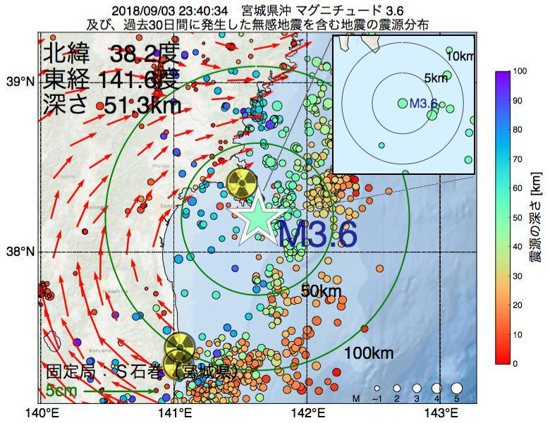 地震震源マップ:2018年09月03日 23時40分 宮城県沖でM3.6の地震
